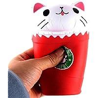 応力Reliever Toy Ulanda 14 cmカットカプチーノコーヒーカップ猫香りつきSquishy Slow Rising Squeeze ToyコレクションCureギフト 14*8*8cm レッド 1661