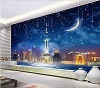 Bzbhart 3D壁紙壁画シルク 壁画の壁紙ステッカースカイシティリビングルームテレビ-450cmx300cm