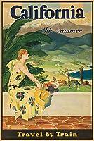 カリフォルニア–Travel by trainヴィンテージポスターUSA C。1930 9 x 12 Art Print LANT-63084-9x12