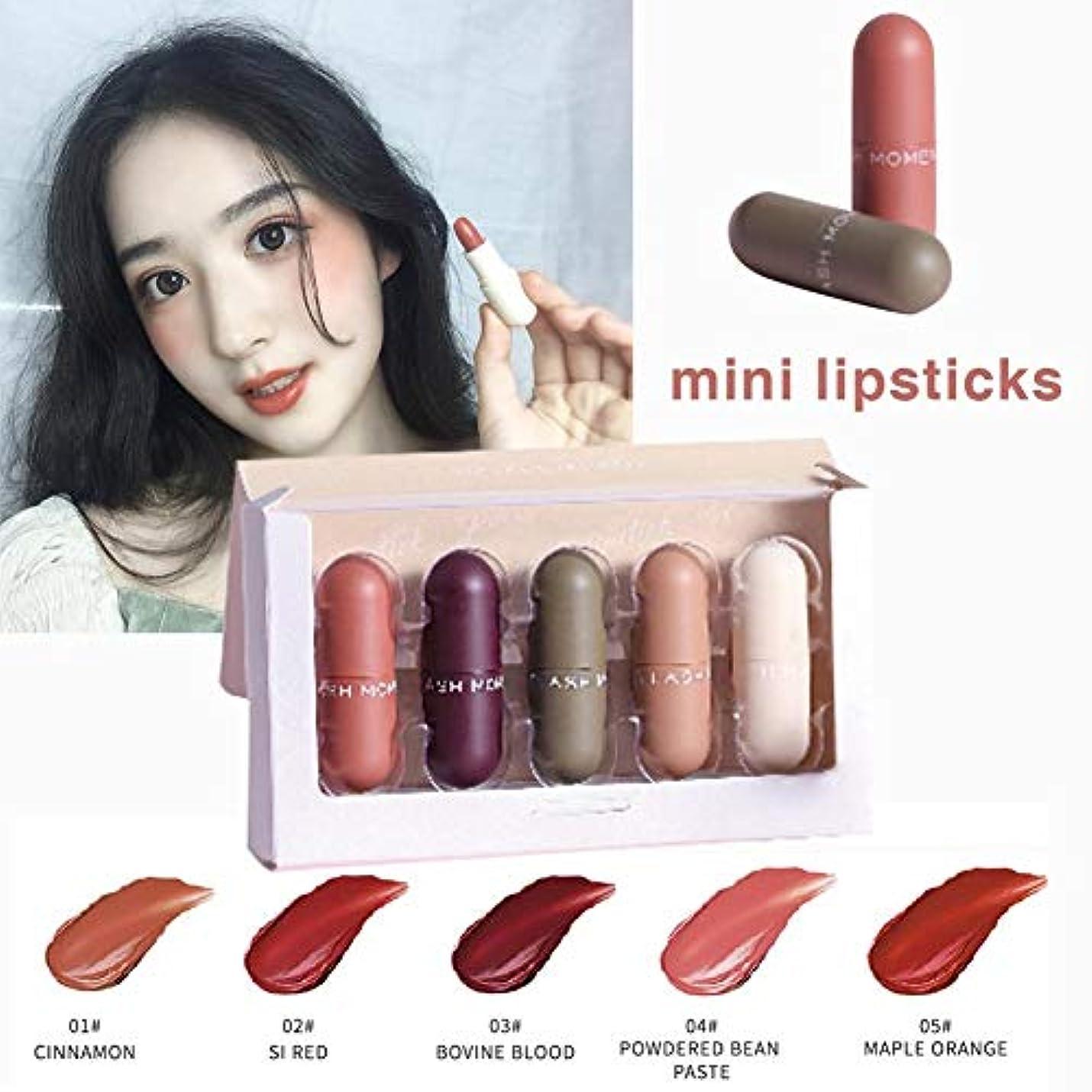 5色セット ミニカプセル リップスティック 口紅セット 長持ち色 化粧品 持ち運び便利 友人 母の日のプレゼント