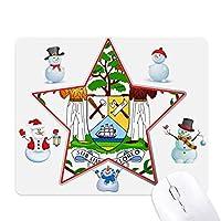 ベリーズ国家エンブレムの国 クリスマス・雪人家族ゴムのマウスパッド