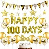 ゴールド100日お祝い パーティー飾り 誕生日飾り付け デコレーション 紙吹雪 オシャレ 風船 ケーキトッパー