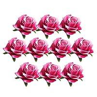 Prettyia 人工シルク 造花ローズ バズフラワー ホーム装飾 結婚式飾り DIYアクセサリー 10.5cm 10個入り 7色選べ - 赤いバラ