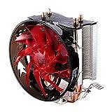 LESHP CPUクーラー CPUファン intel775/1155/1156/1151/1150 AMDヒートに対応 インテルパイプCPUラジエターブラスタワー125mm 銅ヒートパイプ2つ (レッド)