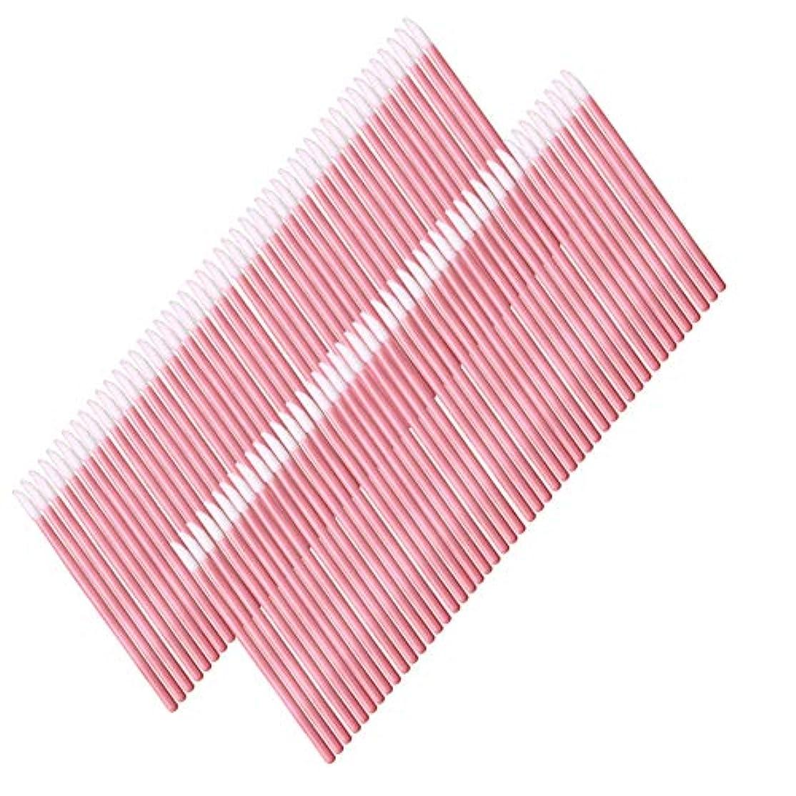 疫病適用済み十分に50使い捨てのリップブラシメイクブラシアプリケーターリップグロス口紅のメイクアップツールトークン(ピンク)