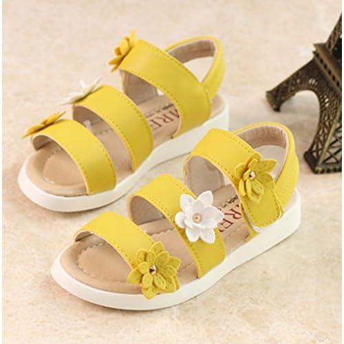 (チェリーレッド) CherryRed 子供靴 女の子 お嬢様 ジュニア 歩きやすい ビーチサンダル 柔らかい 真夏靴 かわいい 小さいサイズ 大きいサイズ お花 33 イエロー