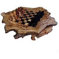 Olive wood rustic chess set board 50 cm - wooden pieces - オリーブウッド素朴なチェスセットボード - 木製の作品 -