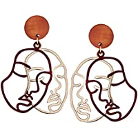 TIDOO Jewelry Abstract Double-Faced Human Face Earrings Gold Statement Earrings for Women