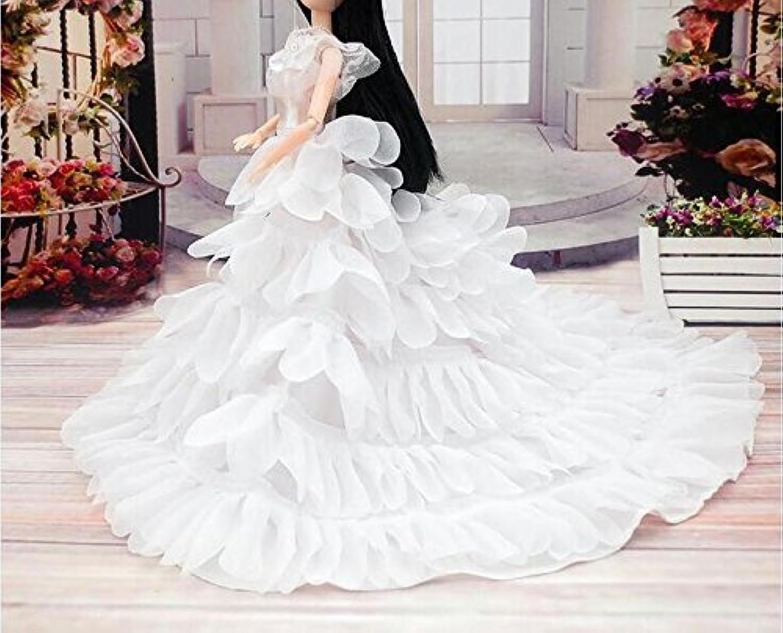 Youvinson バービー 服 ドレス 人形着物 バービー 人形の服 花嫁のウェディングドレス ロングスカート プリンセスドレス 飾り物 装飾 ホワイト