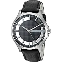Armani Exchange Black Stainless Steel & Leather Watch AX2186