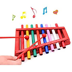 Wishtime 出産祝い お誕生日プレゼントに人気 カラフル シロフォン おもちゃ 鉄琴 8音階 幼児 赤ちゃん 子ども 知育 楽器