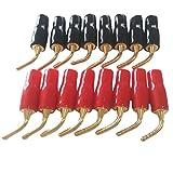 ピン プラグ ミニ プラグ スピーカー ターミナル 銅 バナナプラグ 2色 16個 セット 金メッキ