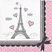 """パリのクラブパックof 216ピンクとホワイトパーティー飲料ナプキン5"""""""