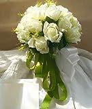 Amazon.co.jp[Neustadt] ウェディングブーケ ブライダルフラワーに 清楚で かわいい 白い バラの 造花の ブーケ
