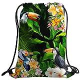メンズ 水着 sxchenジムバッグ袋巾着スポーツバックパックParrot Flowerハチドリグリーンリーフ