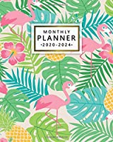 Monthly Planner 2020-2024: 5 Year Monthly Organizer & Five Year Agenda | 60 Months Spread View with To-Do's, Vision Boards, Inspirational Quotes & Notes | Nifty Tropical Flamingo & Pineapple Print