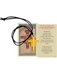 San Damianoクロス十字架ブラックレザーコード付きネックレスwith CarvedイメージでセンターとフリーHC