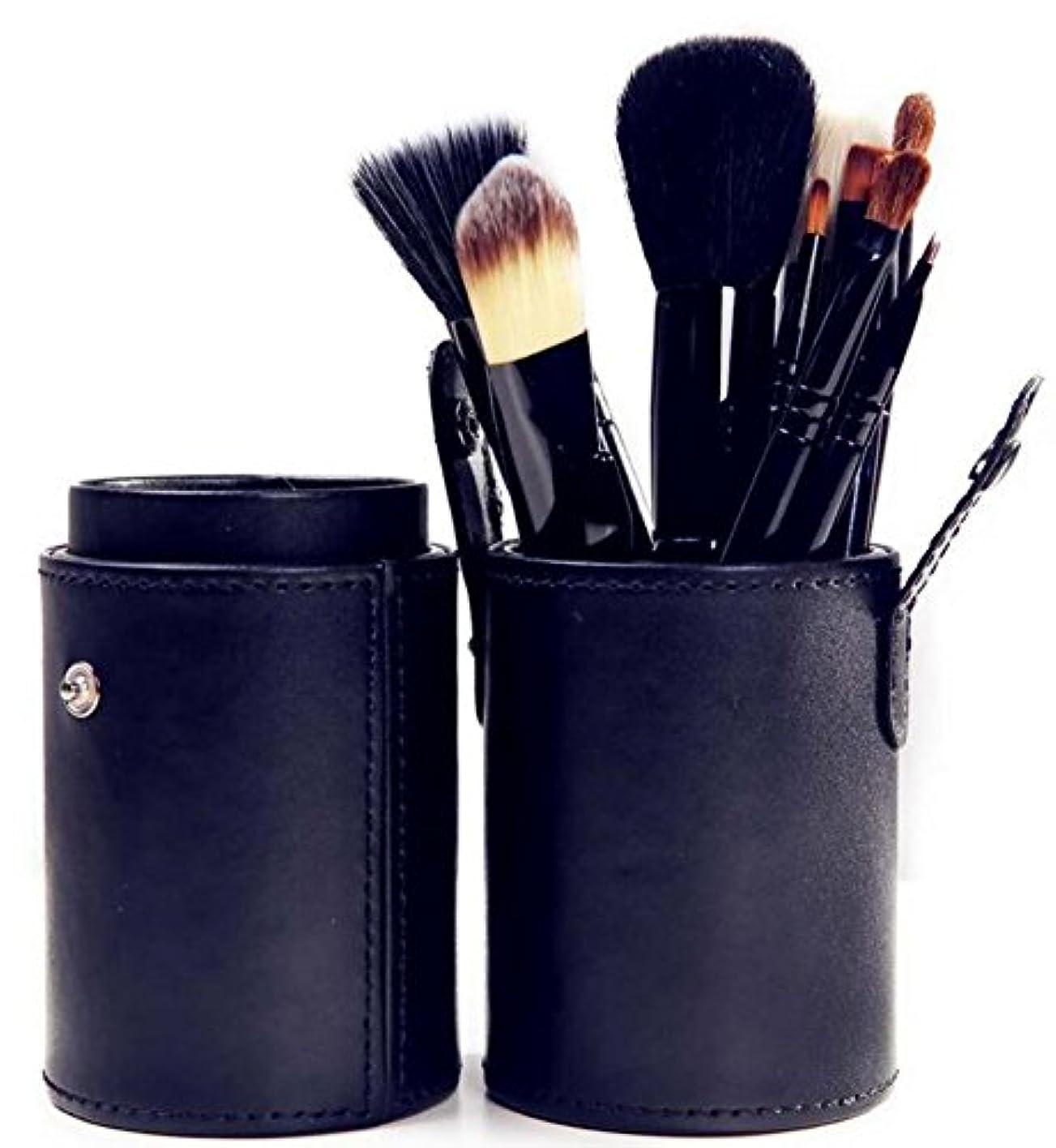 やさしい忠実実際のIvyOnly   メイクブラシセット 化粧ブラシ 12本 化粧筆 丸いタイプ 極細毛 収納ケース付き (ブラック)