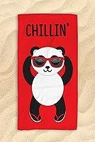レッドChillin ' Pandaビーチタオル–キュートpandatowel–Hit The Beach Inスタイル/パンダギフト30x 60
