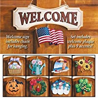 (1, multicolored) - Seasonal Welcome Sign Decoration - 10 Piece Set