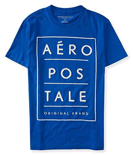 ((エアロポステール)AEROPOSTALE 半袖Tシャツ Original Brand Stacked Logo Graphic T ブルーBlue (L) [並行輸入品]
