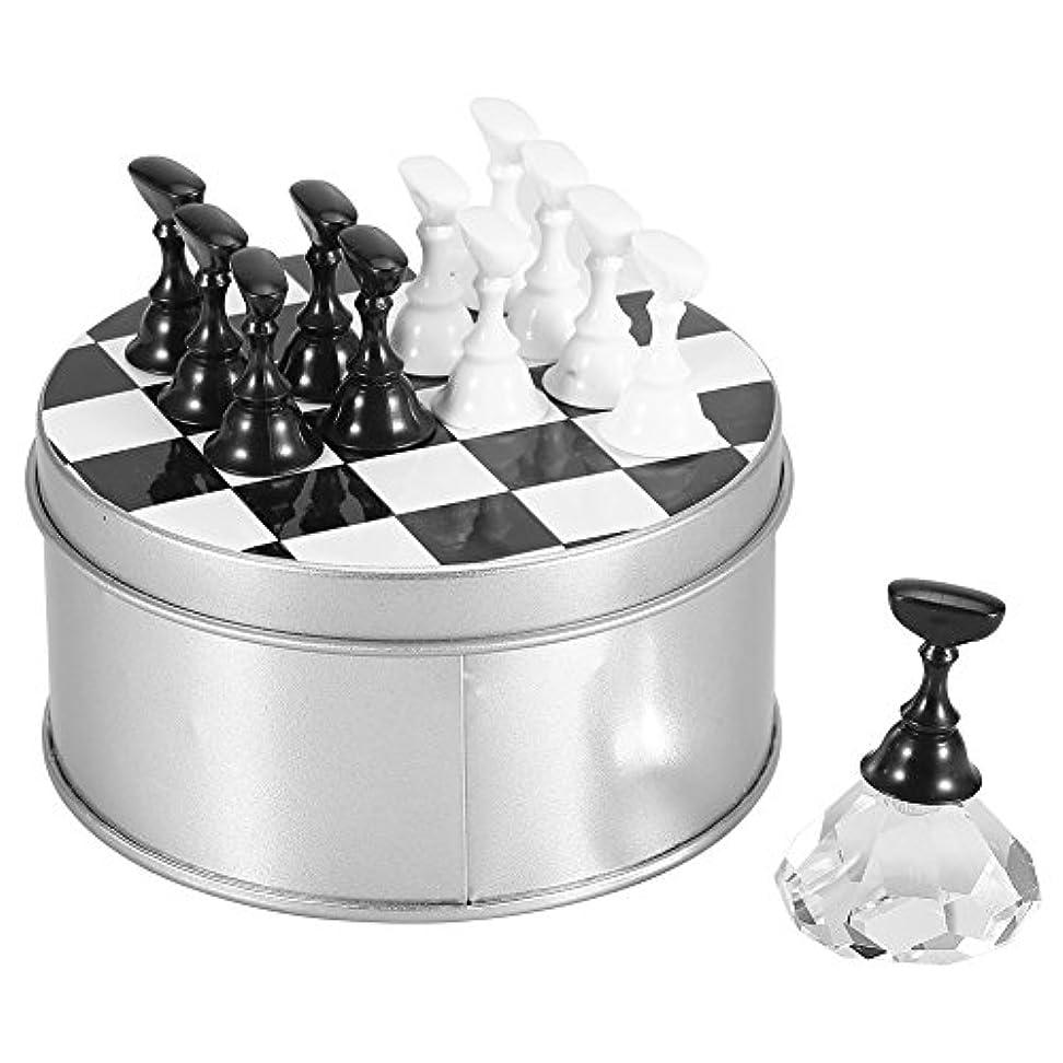 敵ソフィーねじれチェスボード磁気ネイルアートスタンド?アクリル釘のヒントディスプレイホルダーセット 4色選択(白い)