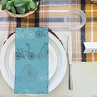 artzfolio Bicycles 2テーブルナプキンサテン生地 20inch x 20inch; SINGLE PIECE AZKIT30174503NAP_TB_L_02-S1_SN