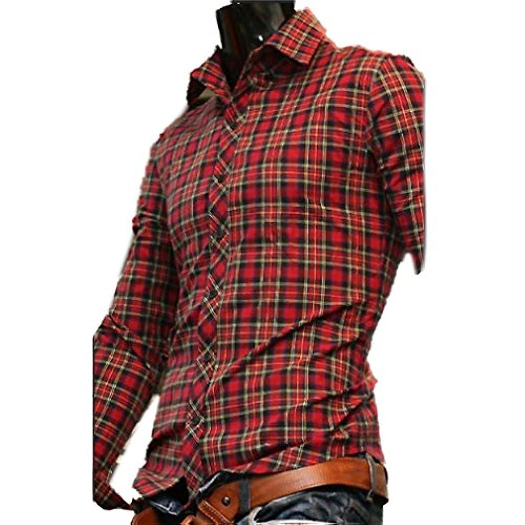 手当感動する男性Honghu メンズ シャツ 長袖 カラーチェック 大きいサイズ レッドチェック L 1PC