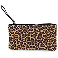 Leopard Print Multi-Functional Canvas Coin Purse Change Pouch Wallet Bag Small Makeup Bag With Zipper