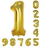 40インチのゴールドの数のヘリウム風船(0-9)アラビア数字の誕生日パーティーデコレーション1
