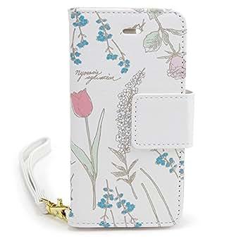 FLOWERING (フラワーリング) アイフォン8/7/6/6s対応 手帳型ケース iPhone8 7 6 6s iPhone case レザー ブックレット スマホケース スマホカバー カード入れ ケース エレガントフラワー(ピンク)
