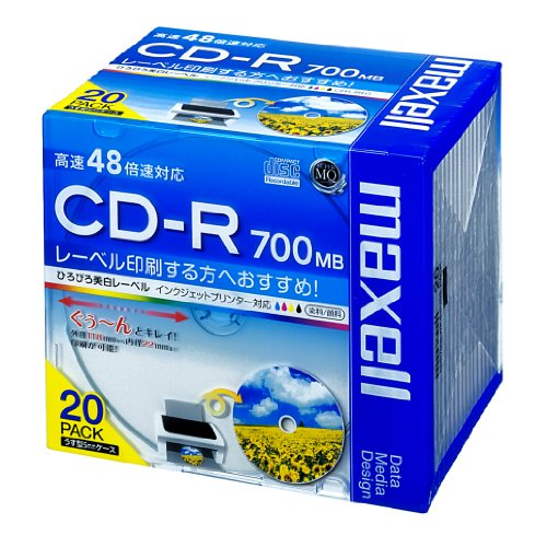 maxell データ用 CD-R 700MB 48倍速対応 インクジェットプリンタ対応ホワイト(ワイド印刷) 20枚 5mmケース入 CDR700S.WP.S1P20S