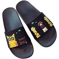 Cute Cat Print Slippers Summer Bathroom Non-Slip Soft Bottom Sandals, Pure Black