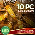 10pc Christmas Lights LED Edison String Light with Timer…