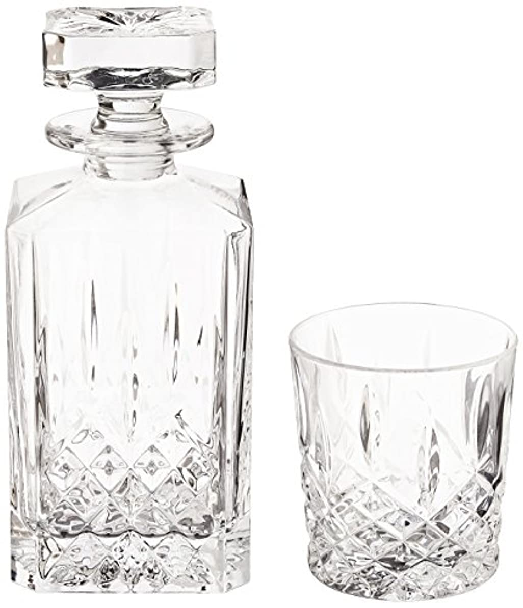 理解既婚横たわる(Decanter Set) - Marquis by Waterford Markham 330ml Double Old Fashioned Glasses Pair and Square Decanter Set, Unleaded Crystal