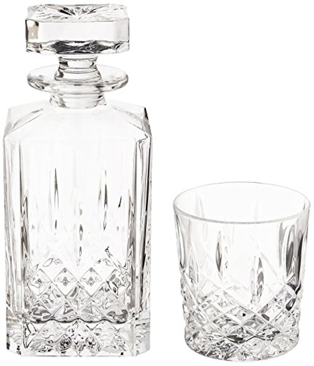 スタンド人生を作る変わる(Decanter Set) - Marquis by Waterford Markham 330ml Double Old Fashioned Glasses Pair and Square Decanter Set, Unleaded Crystal