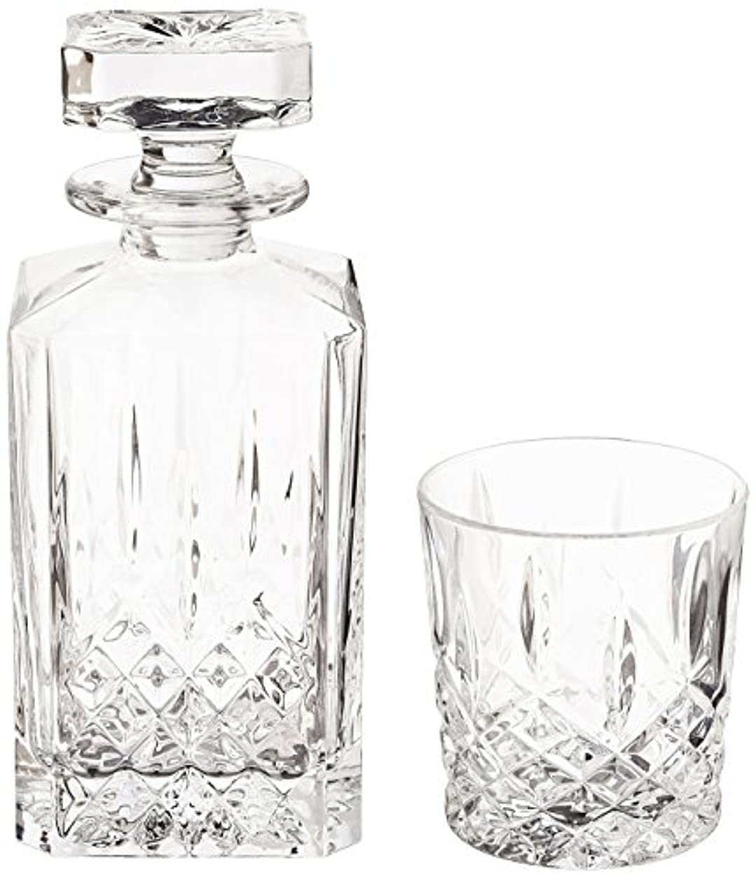 覗く空虚ピュー(Decanter Set) - Marquis by Waterford Markham 330ml Double Old Fashioned Glasses Pair and Square Decanter Set,...