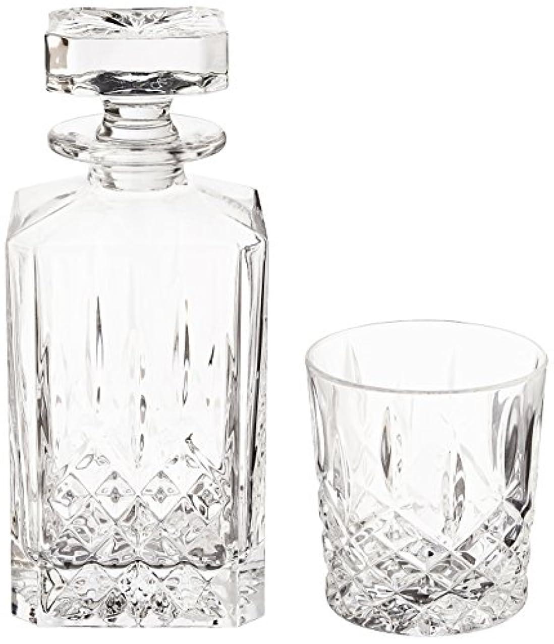 手書き社員チェス(Decanter Set) - Marquis by Waterford Markham 330ml Double Old Fashioned Glasses Pair and Square Decanter Set,...