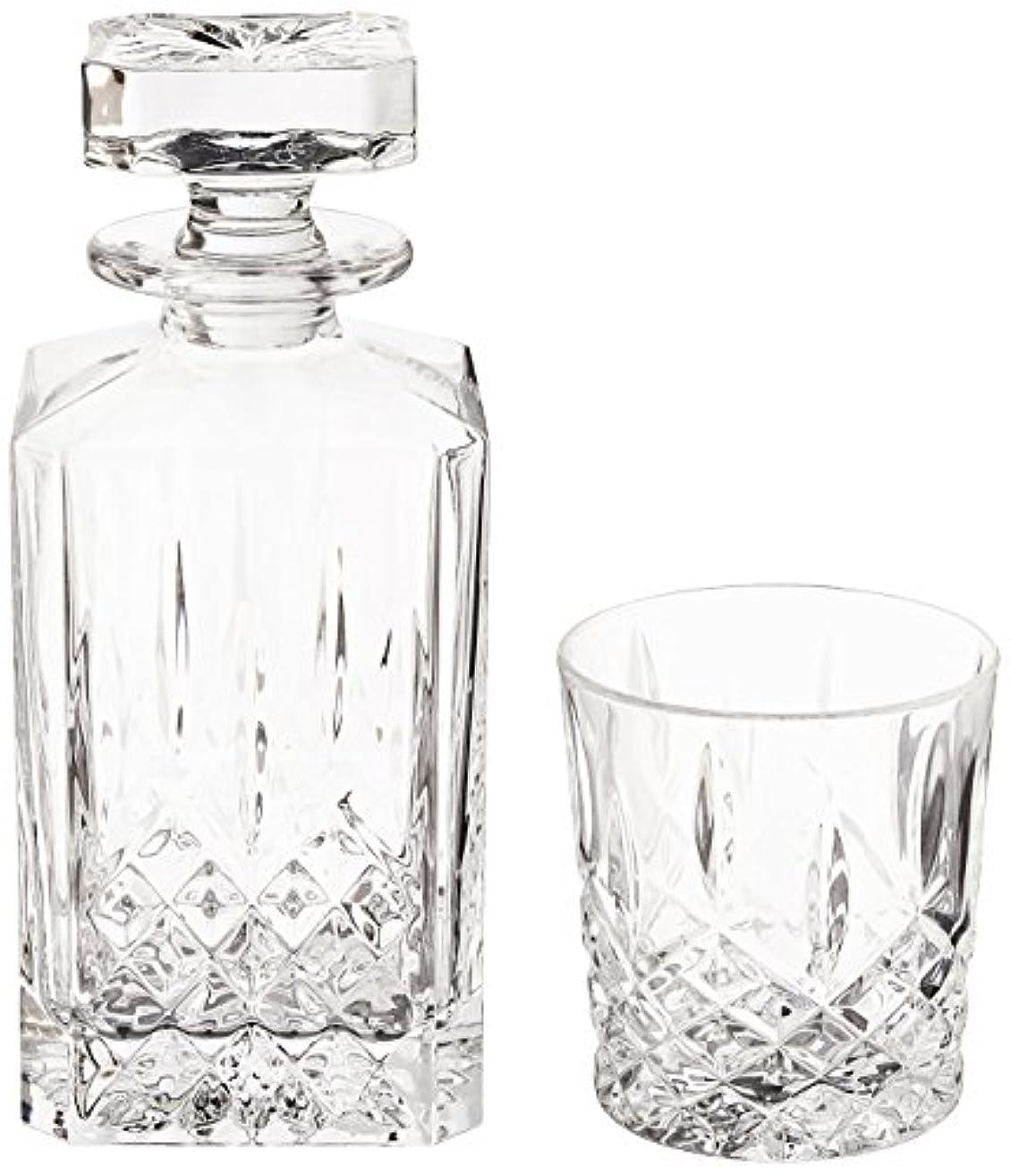 フォアタイプ晩餐大佐(Decanter Set) - Marquis by Waterford Markham 330ml Double Old Fashioned Glasses Pair and Square Decanter Set, Unleaded Crystal