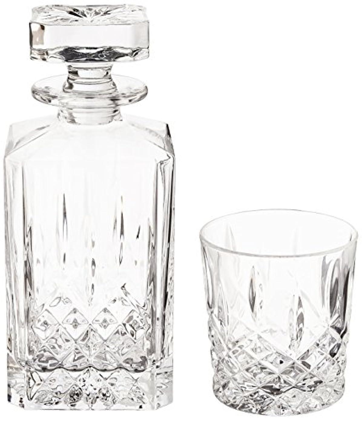 パールこどもセンター鑑定(Decanter Set) - Marquis by Waterford Markham 330ml Double Old Fashioned Glasses Pair and Square Decanter Set, Unleaded Crystal