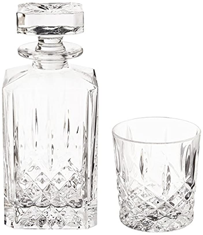 極めて引数踊り子(Decanter Set) - Marquis by Waterford Markham 330ml Double Old Fashioned Glasses Pair and Square Decanter Set, Unleaded Crystal