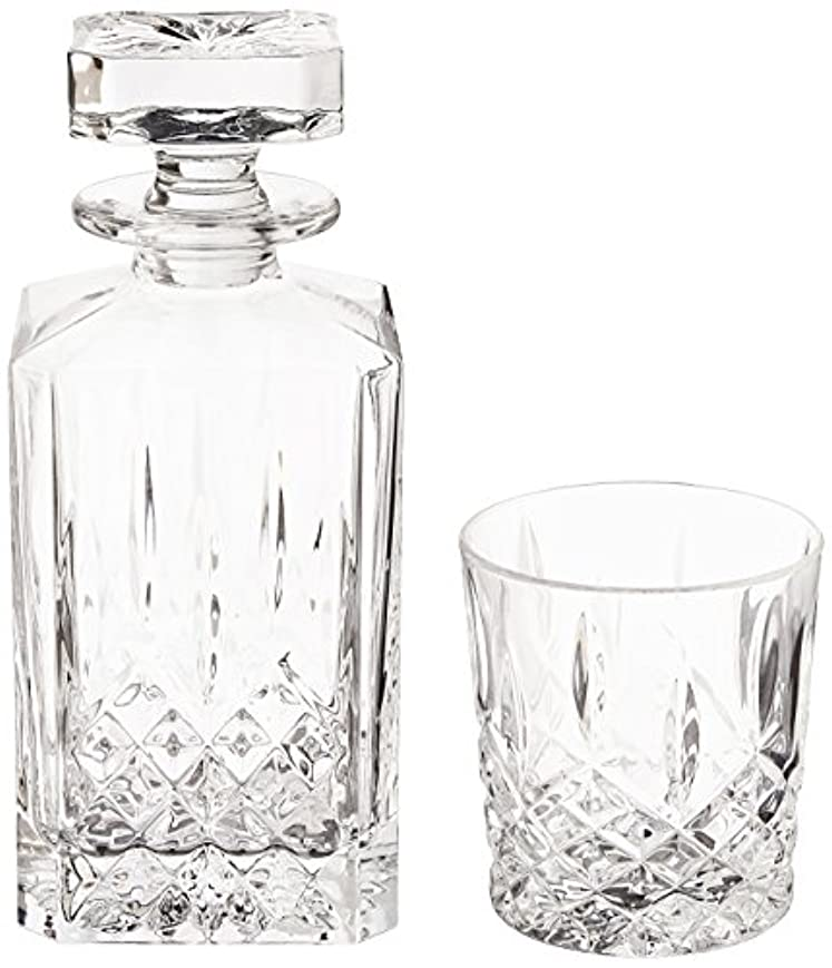 通り伝染性の精度(Decanter Set) - Marquis by Waterford Markham 330ml Double Old Fashioned Glasses Pair and Square Decanter Set,...