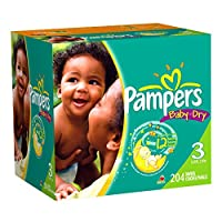 Pampers Baby Dry Diapers Economy Plus Pack, Size 3, 204 Count by Pampers