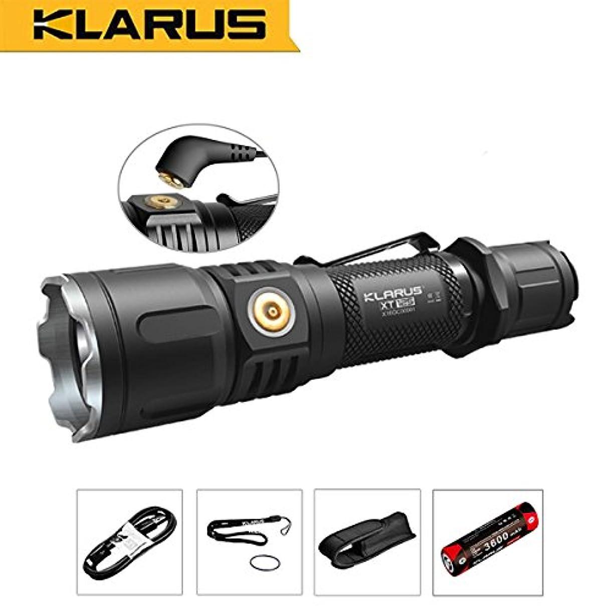 細心のきょうだい物理的なKLARUS XT12S CREE XHP35 HI D4 LED搭載 明るさMaX1600ルーメン 充電式懐中電灯 強力LEDフラッシュライト タクティカルフラッシュライト タクティカル LEDライト マグネット式コネクター/ 3600mAh 18650充電池/USB充電ケーブル付属 ブラック