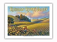 ロシアン・リバー・バレー・ワイナリー - ウェストサイド・ロード沿い - ノースコーストAVAブドウ園 - カリフォルニアワインカントリーアート によって作成された カーン・エリクソン - プレミアム290gsmジークレーアートプリント - 30.5cm x 41cm