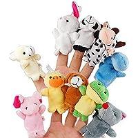 10個入りかわいい動物 指人形 超萌えパペットおもちゃ 指のドール?手のカバー?ぬいぐるみ人形 赤ちゃん知育玩具?早期教育?学習玩具 マペット手袋 指の人形 親子のコミュニケーション?物語の良いヘルパー (10個セット)