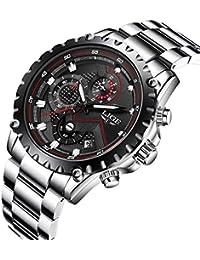 メンズ腕時計 LIGE ステンレススチール 防水ウォッチ クロノグラフ 日付表示 ビジネス カジュアル アナログ クオーツ 時計 メンズ ブラック