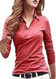 (ルナー・ベリー) Lunar Berry Vネック 襟付き カットソー 半袖 長袖 スリム Tシャツ レディース トップス ストレッチ 素材 ポロシャツ ロンT スエット シンプル 無地 デザイン 上品 コットン ベーシック 美ライン 細見え 着やせ (XL, 赤_長袖)