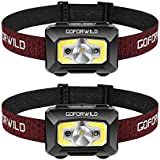 Rechargeable Headlamp, 2 pack of COB Enhanced Headlamp, 500 Lumens Ultra Bright Cree LED Rechargeable Flashlight, Red Light and Motion Sensor, Waterproof, for Camping, Hiking, Outdoors