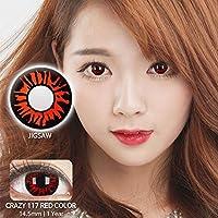 【度なし】韓国カラコン 14.5mm 1年用 2枚入り -0.00 カラーコンタクト 赤 レッド color contact lens 【Jigsaw 117】